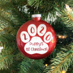 Custom Puppy's First Christmas Ornament (Two-sided)