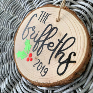 Custom Family Wood Slice Ornament