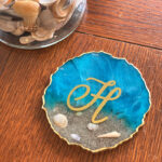 Rough-Edged Monogram Beach Coaster with Metallic Accents