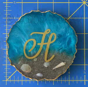 Rough-Edged Monogram Beach Ornament with Metallic Accents