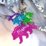 Custom Neon Mama Bear Family Keychain Set