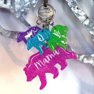 Custom Neon Mama Bear Family Keychain Set