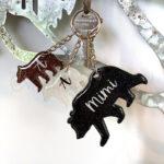 Custom Mama Bear Family Keychain Set