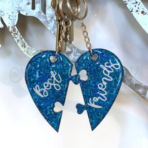 Best Friends Split-Heart Keychain Set