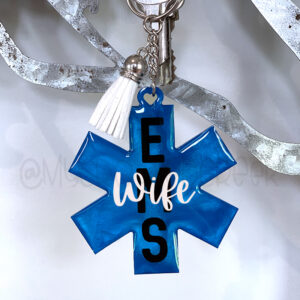 Blue Star of Life EMS Custom Keychain