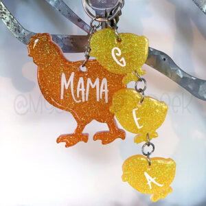 Custom Mama Chicken Family Keychain Set