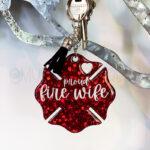 Red Glitter Proud Fire Wife Keychain