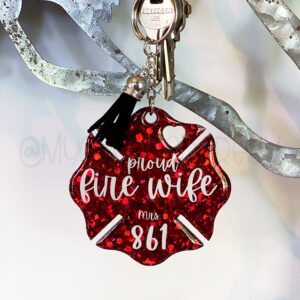Red Glitter Proud Fire Wife Keychain