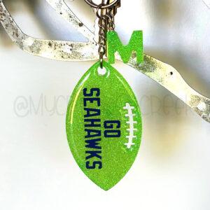 Custom Glitter Football Keychain