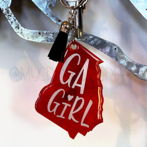 Custom Color Georgia GA Girl Keychain