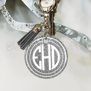 Small Circle Glitter Monogram Keychain