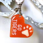 Custom Two-Color Heart w/ Paw Keychain