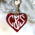 Custom Couple Initials Heart Keychain