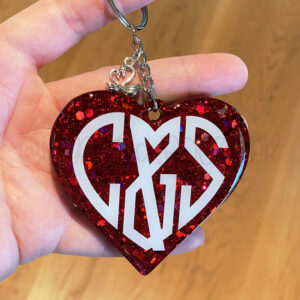 Custom Couple Initials Heart Keychain