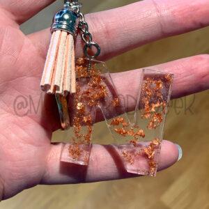 Custom Metallic Flakes Letter Initial Keychain