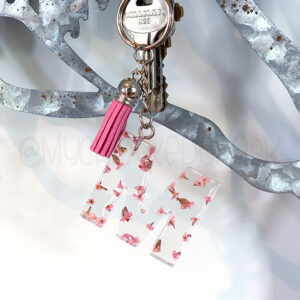 Custom Pink Flowers Letter Initial Keychain