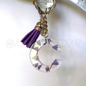 Custom Purple Flowers Letter Initial Keychain