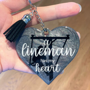 Custom Lineman Has my Heart Keychain