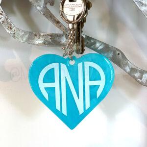 Custom Marble Monogram Heart Keychain