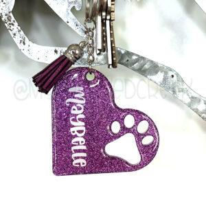 Paw Print Custom Glitter Heart Pet Keychain