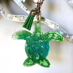 Custom Color Ink Monogram Sea Turtle Keychain