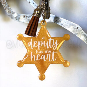 Custom Deputy Has my Heart Badge Keychain