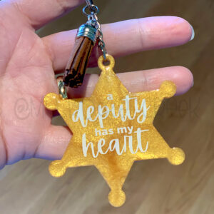 Custom Deputy Has my Heart Badge Keychain