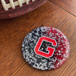 Retro UGA-inspired Coaster with Silver Flakes