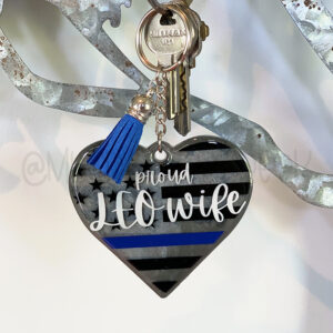 Thin Blue Line Flag Heart Police Keychain